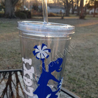 Personalized Cheer Tumbler, Cheerleader Water Bottle