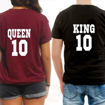 Custom King and Queen shirts for Couples tshirts matching shirts his hers tees unisex shirts for boyfriend and girlfriends friendship gift
