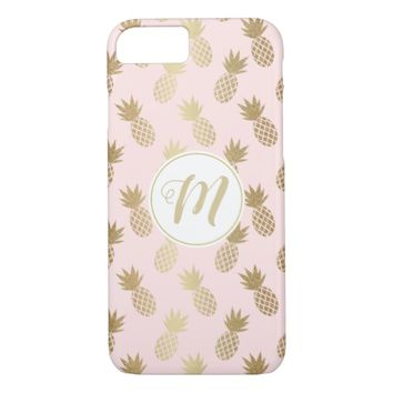 Gold Pineapple Pattern & Monogram iPhone 8/7 Case