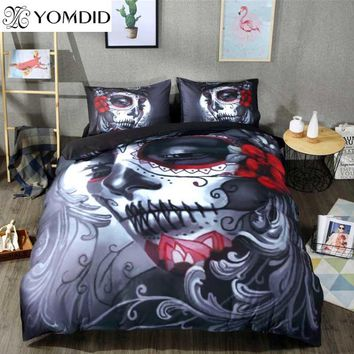 Cool Skull Bedding Set Halloween Style Bed Sheet Queen King Double Bed Cover Flat Sheet Pillow Case Blend Skull Duvet Cover SetAT_93_12