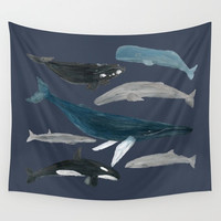 Whale Painting Wall Tapestry, whale tapestry, nautical tapestry, whale wall tapestry, whale wall hanging, whale wall art, whales