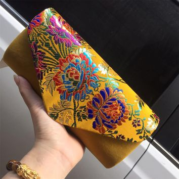 Vintage Embroidery Velvet Elegant Women Retro Clutch Bag Dinner Womens Party Bag Evening Bag Lady Classic Chain Bag Package QL