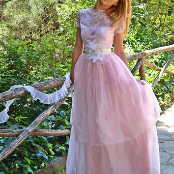 Pink Lacen Wedding Dress / Bridal Wedding Gown - Handmade by SuzannaM Designs