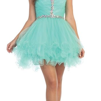 Short Strapless Studded Sweetheart Neck Mint Homecoming Dress
