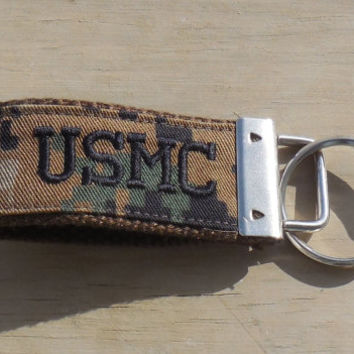 Military Key Fob, USMC Mini Military Key Fob, Embroidered Mini USMC fob, Marine Woodland Print, Black embroidery