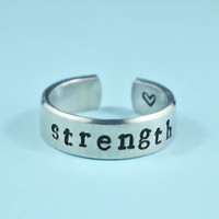 strength Ring - Hand Stamped Aluminum Ring, Skinny Ring