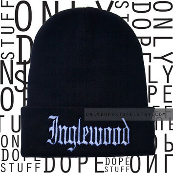 Inglewood Beanie Old English Black Beanie Womens Mens Girls Boys Thug Life Gangsta Beanie