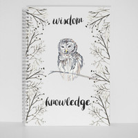 Owl Print Gift Mini Notebook A5 Journal Diary Planner Sketchbook Gift silver wire Gift for mother gift for friend