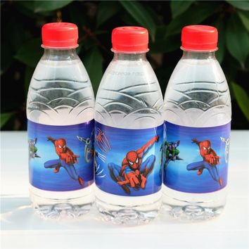 12pcs Spider man Avengers Superhero water bottle label candy bar kids birthday party supplies baby shower party favor