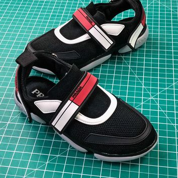 18ss Prada Cloudbust Black Red Women's Sneakers  - Best Online Sale