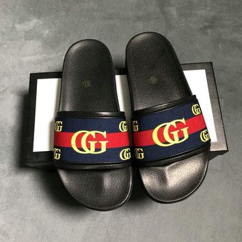 GUCCI Slippers Casual Fashion Sandal Shoes Summer Vacation Ocean Holiday White