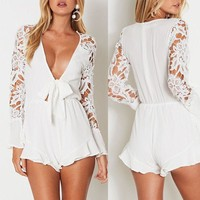Stylish Sexy Women clothes summer Lace Deep
