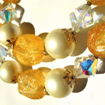 VENDOME Necklace Orange Citrine, Double Strand, Crystal, Faux Pearl, Vintage