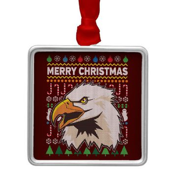 Eagle Ugly Christmas Sweater Wildlife Series Metal Ornament