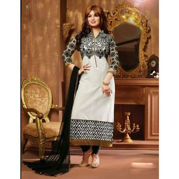 Ayesha Takia Cotton Thread Work Cream Semi Stitched Straight Suit - 2801
