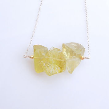 Lemon Quartz Necklace - OOAK Jewelry