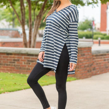 Look How Comfy Tunic, Navy-White