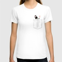 Pocket French Bulldog - Pied T-shirt by Anne Was Here