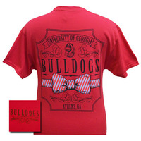 New Georgia Bulldogs Southern Prep Bow Script Girlie Bright T Shirt