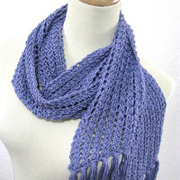 Blueberry Frappe Hand Knit Lace Scarf Great for Spring