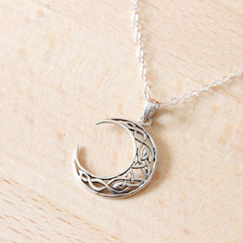 Best sterling silver crescent moon charm products on wanelo celtic moon long necklace sterling silver moon pendant necklace aloadofball Image collections