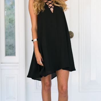Black Lined Cross Strap Chiffon Dress