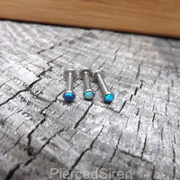 Blue Opal Labret Post 14g Conch Earrings White Opal Lip Ring Internally Threaded Helix Cartilage Stud Post Opal Helix Stud Opal Earring Post