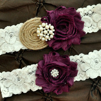 Burlap Rustic Wedding Garter Set, Bridal Garter Set - Rustic Garter, Country Shabby Chic, Shabby Plum Wedding Garter Belt, Burlap Garter