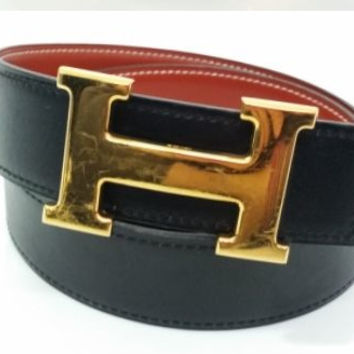 Hermes Vintage Black/Brown Leather Belt With Gold H Buckle