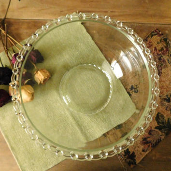 Glass Serving Bowl with Decorative Scalloped Eyelet Rim
