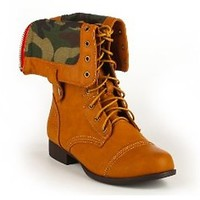 Fold Over Camo Military Boots