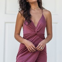 Heart To Heart Burgundy Satin Twisted Front Dress