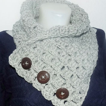 Crochet PATTERN, 3 Button 'Neszta' scarf, Wrap cowl, Shoulder Warp