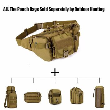 Tactical Molle Waist Bag Military Waterproof Crossbody Bag Pack Hiking Travel Hunting Sports Belt Bag for Camping Cycling Travel