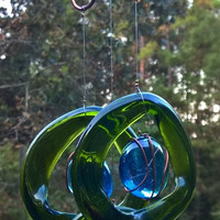 Wind chime,Wine Bottle Wind Chime, glass wind chime, recycled bottle, garden art, green wind chime