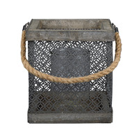 Priscilla Rustic Bleached Wood & Perforated Metal Candle Holder, 2 sizes