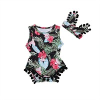 Newborn Baby Girl Floral Romper + Headband Outfits Floral Clothes Set