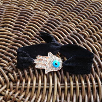 Rhinestone Hamsa Hand with Evil EyeElastic Hair Ties (and Bracelets)