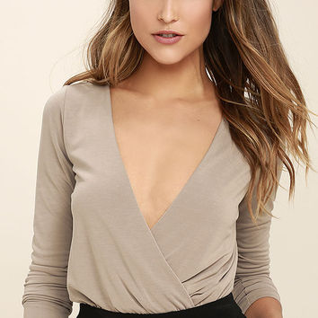 Striking Looks Taupe Long Sleeve Bodysuit