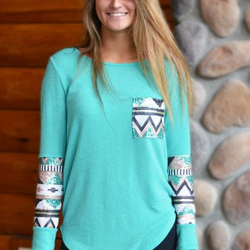 Minty Aztec Sequin Top