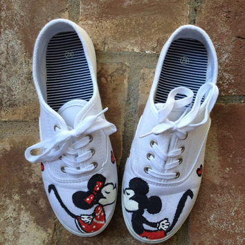 Adult Handpainted Mickey and Minnie Shoes