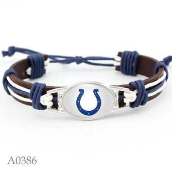 New Arrival Indianapolis Colts Football Team Leather Bracelet Adjustable Leather Cuff Bracelet For Man And Woman 10pcs/lot