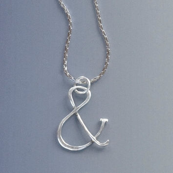 "Ampersand ""&"" Necklace, Sterling Silver Ampersand Symbol Pendant and Chain, ""And"" Sign Necklace, Typography Ampersand Jewelry"