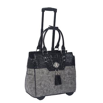 """THE SAVANNAH"" Vintage Style Grey & Black Rolling Laptop Carryall Trolley Bag"