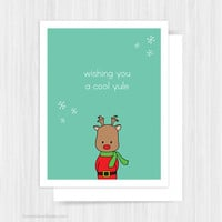 Cute Christmas Card Funny Rudolph Cool Yule Happy Holidays For Friend Handmade Greeting Cards Illustration Gifts Gift Ideas For Him Her