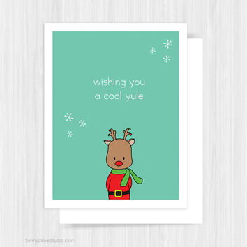 cute christmas card funny rudolph cool yule happy holidays for friend handmade greeting cards illustration gifts
