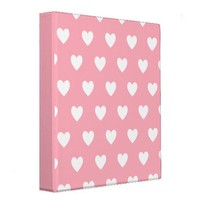 Pink Polka Hearts 3 Ring Binder from Zazzle.com
