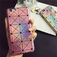 Laser Optical Maser Plaid Lattice Bling Cover Case For IPhone 6 6s / 6 Plus 6s plus