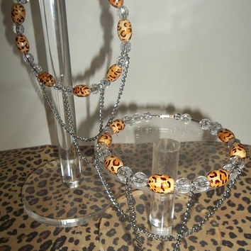 Cheetah Leopard Print Basketball Wives Inspired Double Chain Large Hoops