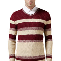 Color Block Ribbed Trim Paneled Knitted Sweater